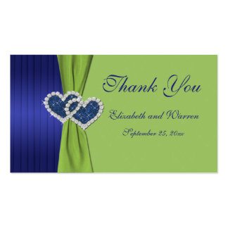 Royal Blue Pleats and Chartreuse Damask Favor Tag Business Card Template