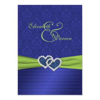 "Royal Blue Pleats and Chartreuse Invitation 5"" X 7"" Invitation Card"