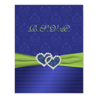 """Royal Blue Pleats and Chartreuse RSVP Card 4.25"""" X 5.5"""" Invitation Card"""