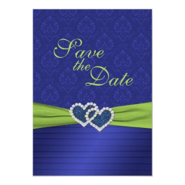 Valentines Themed Royal Blue Pleats and Chartreuse Save the Date Card