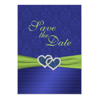 """Royal Blue Pleats and Chartreuse Save the Date 5"""" X 7"""" Invitation Card"""