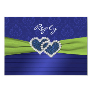 """Royal Blue Pleats and Lime Reply Card - small 3.5"""" X 5"""" Invitation Card"""