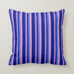 [ Thumbnail: Royal Blue, Plum, and Blue Colored Lines Pillow ]
