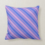 [ Thumbnail: Royal Blue & Plum Colored Pattern Throw Pillow ]