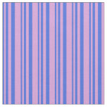 [ Thumbnail: Royal Blue & Plum Pattern of Stripes Fabric ]