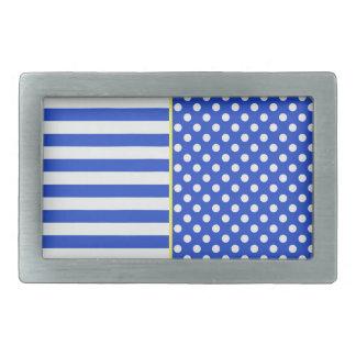 Royal Blue Polka Dots and Stripes by ShirleyTaylor Rectangular Belt Buckle