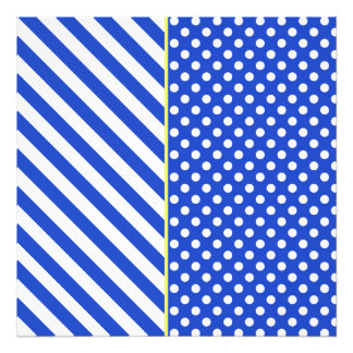 Royal Blue Polka Dots And Stripes by STaylor Photo Print
