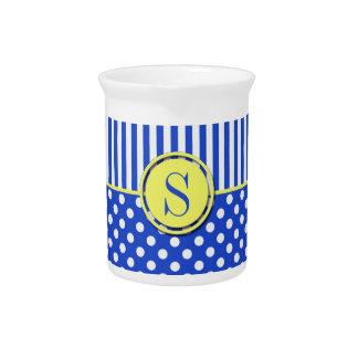 Royal Blue Polka Dots and Stripes-Monogram STaylor Beverage Pitcher