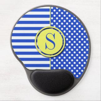 Royal Blue Polka Dots and Stripes-Monogram STaylor Gel Mouse Pad