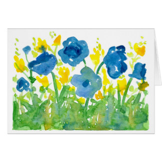 Royal Blue Poppies Watercolor Flowers Thank You Card