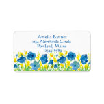 Royal Blue Poppies Yellow Watercolor Flowers Label