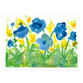 Royal Blue Poppies Yellow Wildflowers Watercolor Postcard
