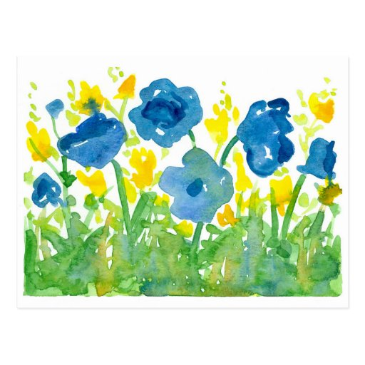 Royal Blue Poppies Yellow Wildflowers Watercolor Postcard ...