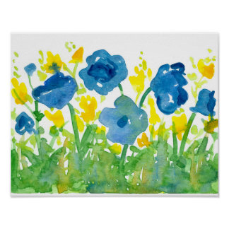 Royal Blue Poppies Yellow Wildflowers Watercolor Poster