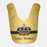 Royal Blue Prince Baby Bib