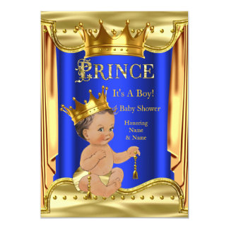 Royal Blue Prince Baby Shower Gold Brunette Boy Card