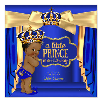 Royal Blue Prince Baby Shower Gold Crown Ethnic Card