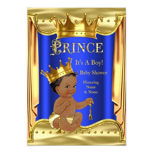 royal blue prince baby shower gold ethnic 5x7 paper invitation card