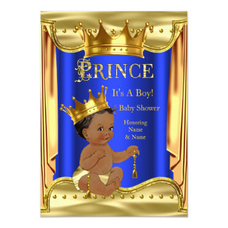 Royal Blue Prince Baby Shower Gold Ethnic Card