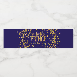 Royal Blue Prince Baby Shower Water Bottle Labels
