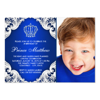 Royal Blue Prince Birthday Party Card