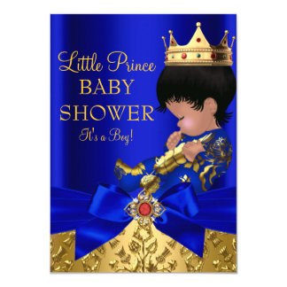 Royal Blue Prince Boy Baby Shower African American 4.5x6.25 Paper Invitation Card