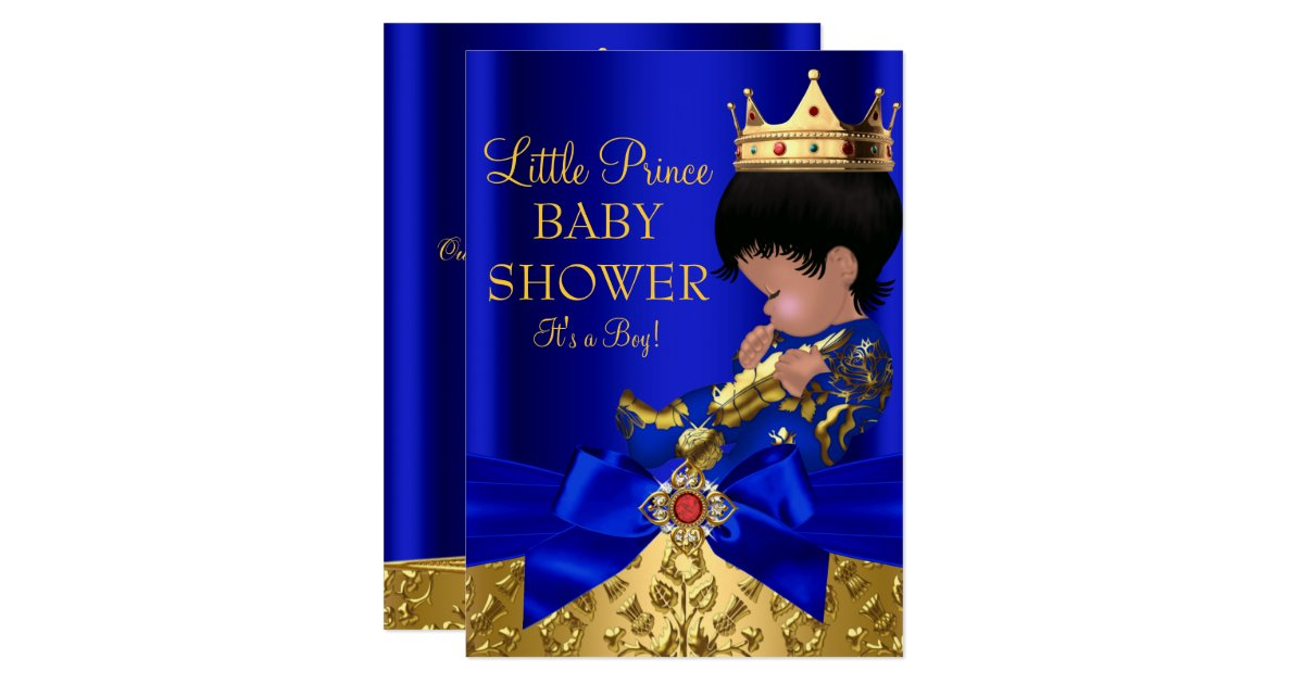 royal blue prince boy baby shower african american card zazzle