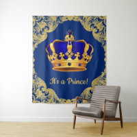Royal Blue Prince Crown Baby Shower Backdrop