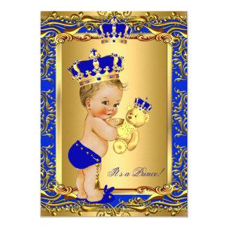 Royal Blue Prince Crown Baby Shower Bear Blonde Card