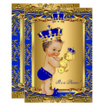 Royal Blue Prince Crown Baby Shower Bear Brunette Invitation