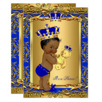 Royal Blue Prince Crown Baby Shower Bear Ethnic Card