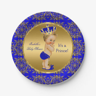 Royal Blue Prince Crown Baby Shower Blonde Boy Paper Plate