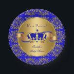 "Royal Blue Prince Crown Baby Shower Boy Paper Plate<br><div class=""desc"">Elegant Prince Baby Shower Boy Royal Blue Little Prince Gold Damask Crown. Boy Baby Shower a For Dinner,  Snacks,  Cakes,  food</div>"