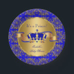 "Royal Blue Prince Crown Baby Shower Boy Paper Plate<br><div class=""desc"">Elegant Prince Baby Shower Boy Royal Blue Little Prince Gold Damask Crown. Boy Baby Shower a For Dinner,  Snacks,  Cakes,  food</div>"