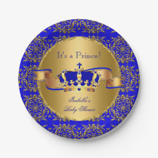 Royal Blue Prince Crown Baby Shower Boy Paper Plate at Zazzle