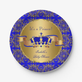 Royal Blue Prince Crown Baby Shower Boy Paper Plate