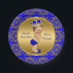 """Royal Blue Prince Crown Baby Shower Brunette Boy Paper Plate<br><div class=""""desc"""">Elegant Prince Baby Shower Boy Royal Blue Little Prince Gold Damask Crown. Brunette Baby Shower &quot;It&#39;s a Prince&quot; For Dinner,  Snacks,  Cakes,  food</div>"""