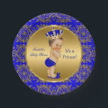 "Royal Blue Prince Crown Baby Shower Brunette Boy Paper Plate<br><div class=""desc"">Elegant Prince Baby Shower Boy Royal Blue Little Prince Gold Damask Crown. Brunette Baby Shower &quot;It&#39;s a Prince&quot; For Dinner,  Snacks,  Cakes,  food</div>"