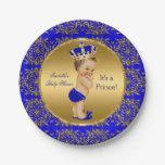 Royal Blue Prince Crown Baby Shower Brunette Boy Paper Plate