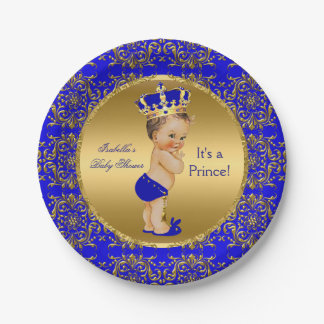 Royal Blue Prince Crown Baby Shower Brunette Boy Paper Plate
