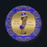 "Royal Blue Prince Crown Baby Shower Ethnic Paper Plate<br><div class=""desc"">Elegant Prince Baby Shower Boy Royal Blue Little Prince Gold Damask Crown. Ethnic African American Baby Shower &quot;It&#39;s a Prince&quot; For Dinner,  Snacks,  Cakes,  food</div>"