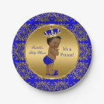 Royal Blue Prince Crown Baby Shower Ethnic Paper Plate
