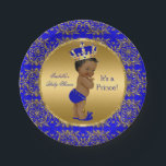 "Royal Blue Prince Crown Baby Shower Ethnic Paper Plate<br><div class=""desc"">Elegant Prince Baby Shower Boy Royal Blue Little Prince Gold Damask Crown. Ethnic African American Baby Shower ""It's a Prince"" For Dinner,  Snacks,  Cakes,  food</div>"