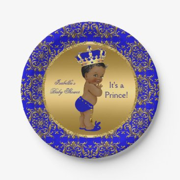 VintageBabyShop Royal Blue Prince Crown Baby Shower Ethnic Paper Plate