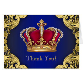 Royal Blue Prince Crown Thank You Cards