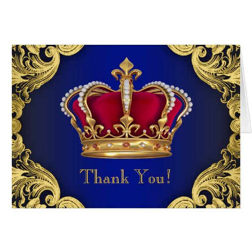 Royal Blue Prince Crown Thank You Cards Zazzle