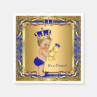 Royal Blue Prince Gold Crown Baby Shower Blonde Paper Napkin