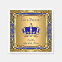 Royal Blue Prince Gold Crown Baby Shower Boy Paper Napkin
