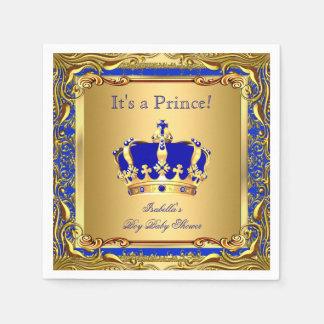 Royal Blue Prince Gold Crown Baby Shower Boy Paper Napkin
