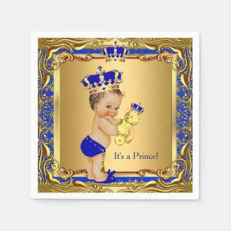 Royal Blue Prince Gold Crown Baby Shower Brunette Paper Napkin